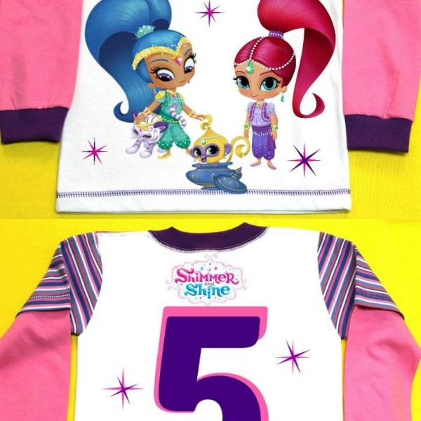 Shimmer and Shine Birthday Girl Shirt Long Sleeve Personalized with child name and age.