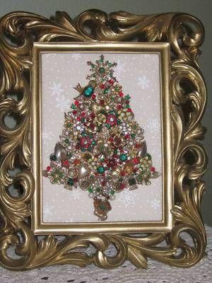 Vintage Jewelry Framed Christmas Tree Hearts Enamel Flowers OOAK Folk Art   eBay