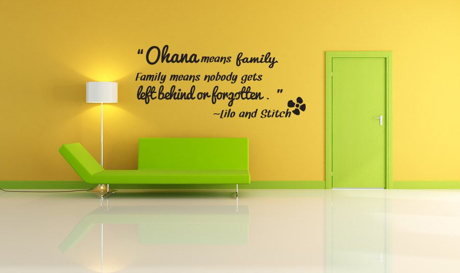 Ohana!   Lilo and Stitch Disney Vinyl Wall Art Sticker Decal & Ohana means family Vinyl Decal Quotes Wall Sticker Wall Art Wall ...