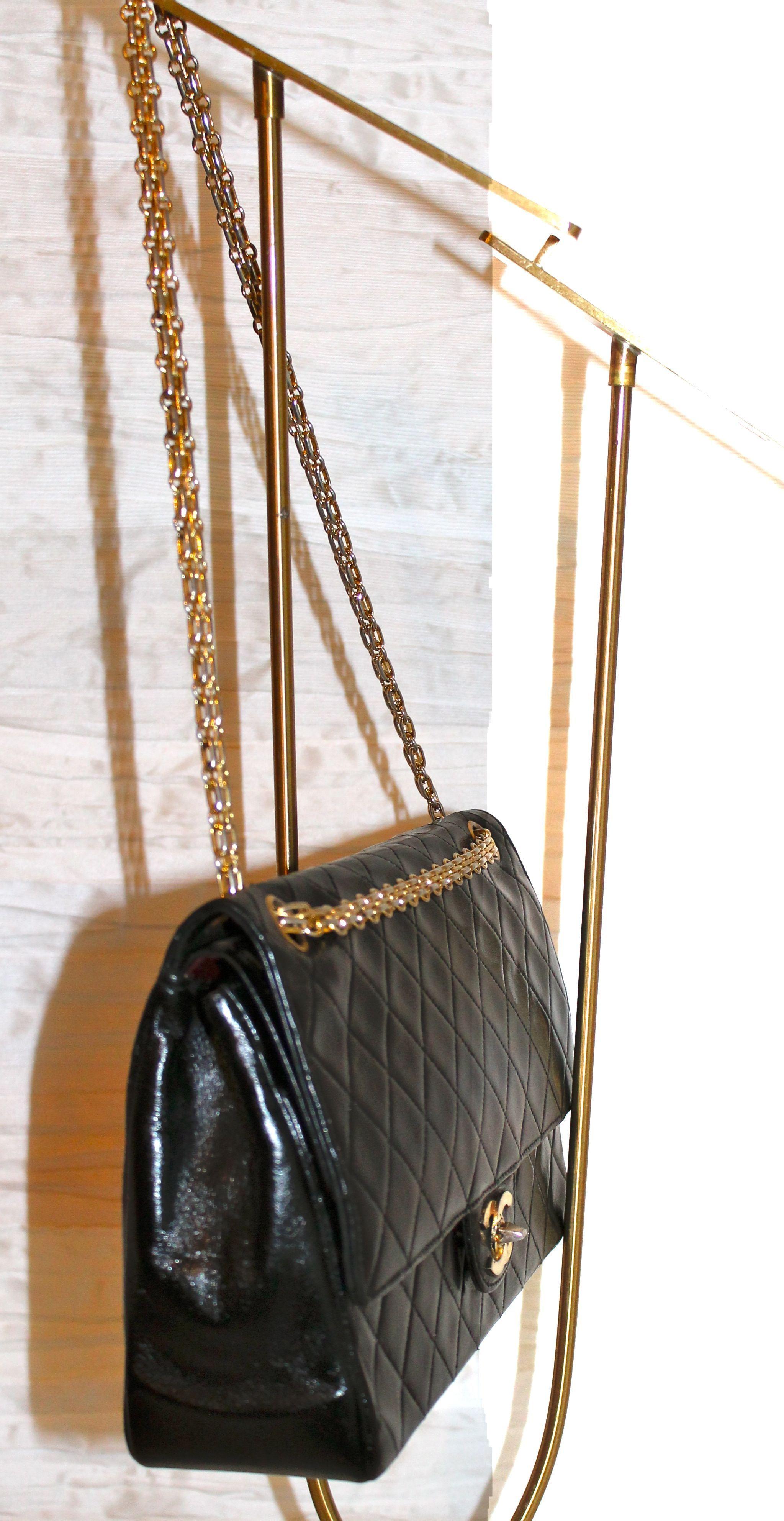 Borse Con Catena Chanel.Borsa Chanel Modello 2 55 Vintage In Agnello Matelasse Nero