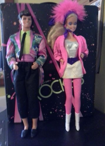 Barbie And Derek Dolls with clothes and Rockers Box