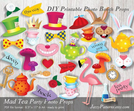 Alice In Wonderland Photo Props Printable Party Decoration Diy