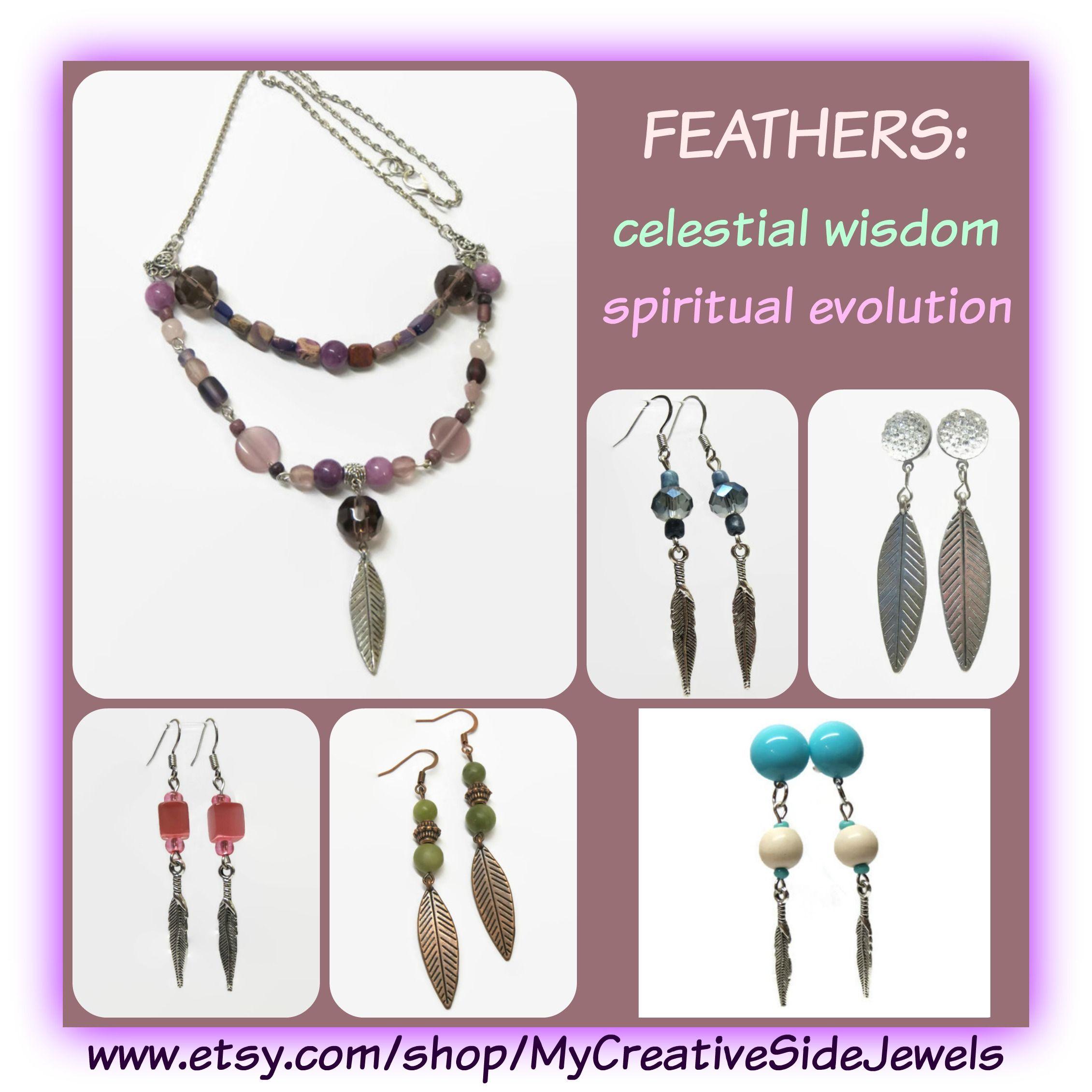Feather jewelry.  Handmade. Celestial wisdom and spiritual evolution.  SHOP: https://www.etsy.com/shop/MyCreativeSideJewels