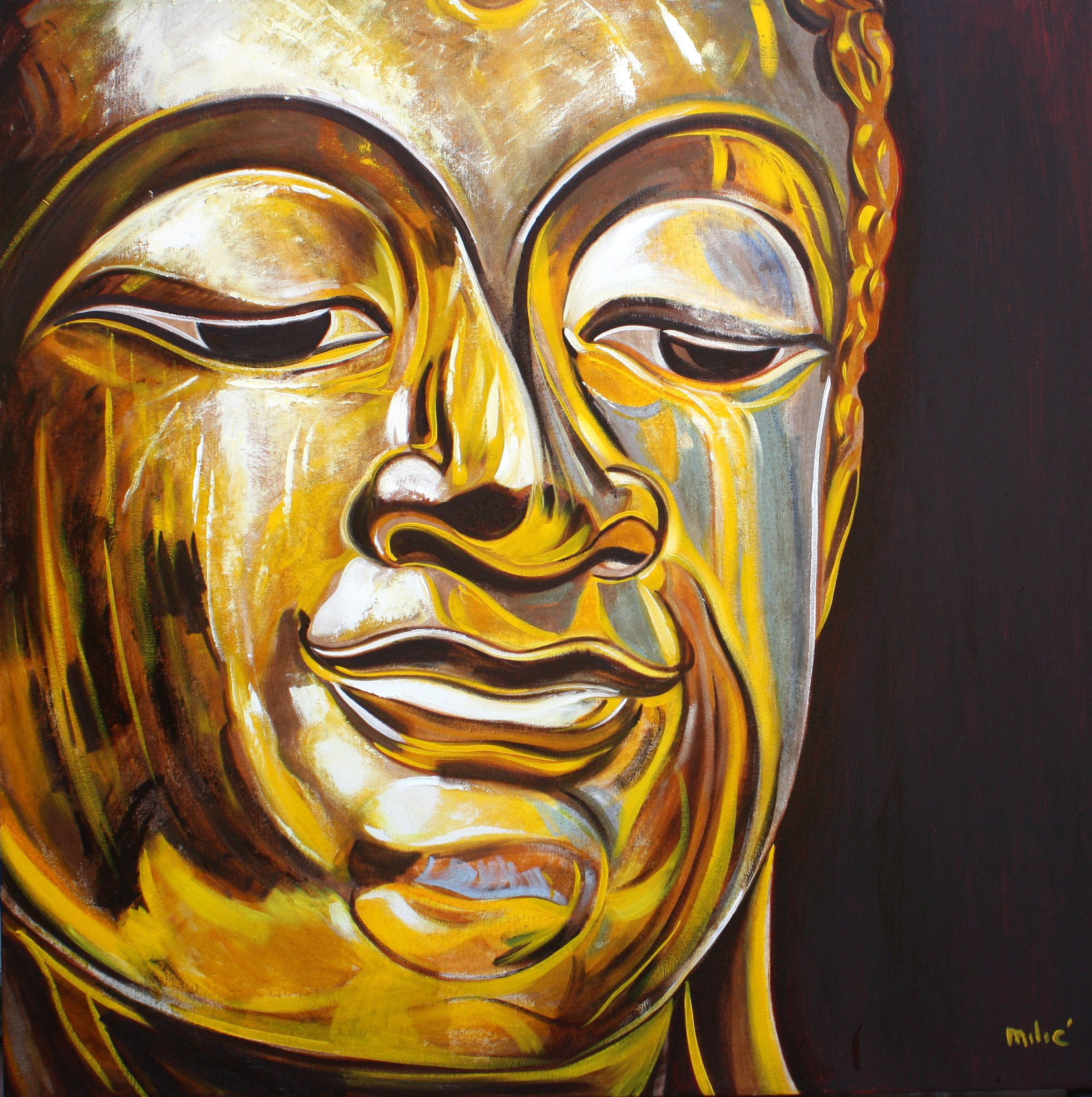 """happy buddha in gold 36x36"""" oil on canvas by dragoslav milic-FOR SALE: 3000 us dollars"""