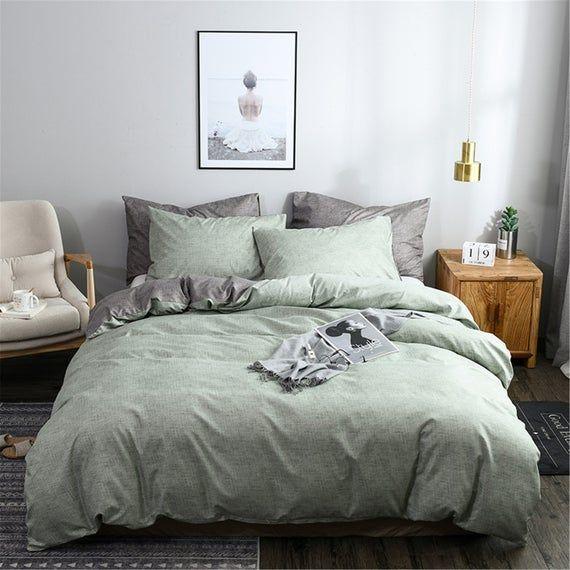 Senior Light Green Autumn Winter 3 Piece Comforter Cover Set Duvet