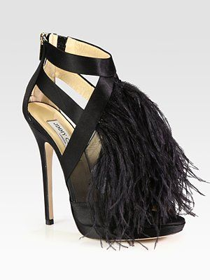 1bf7428aaf00 Fabulously feathery Jimmy Choo Teazer Ostrich Feather Satin Platform Sandals