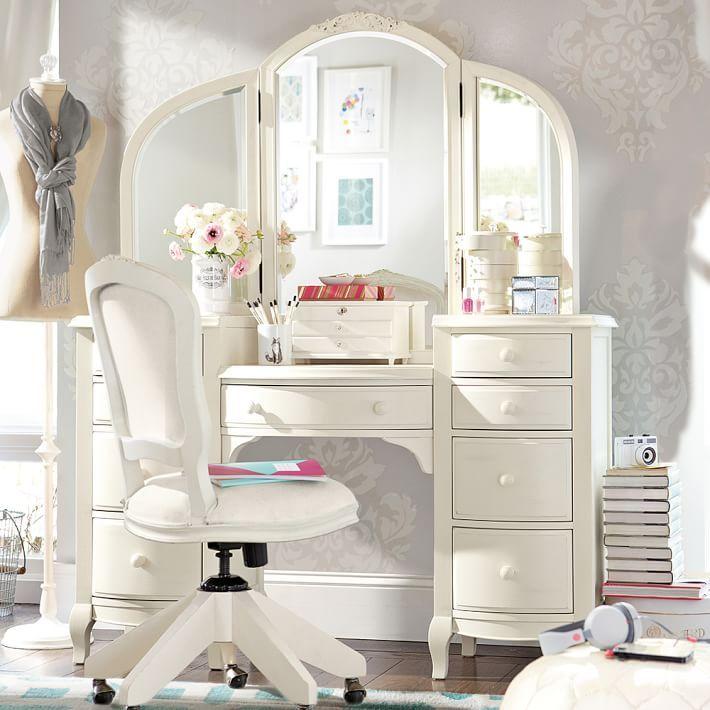 Pin by liz fisher on Sloane room | Pinterest | White vanity set ...