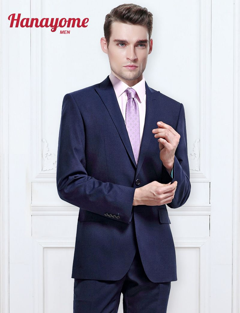 Click to buy ucuc dark blue man suit menus pieces new business