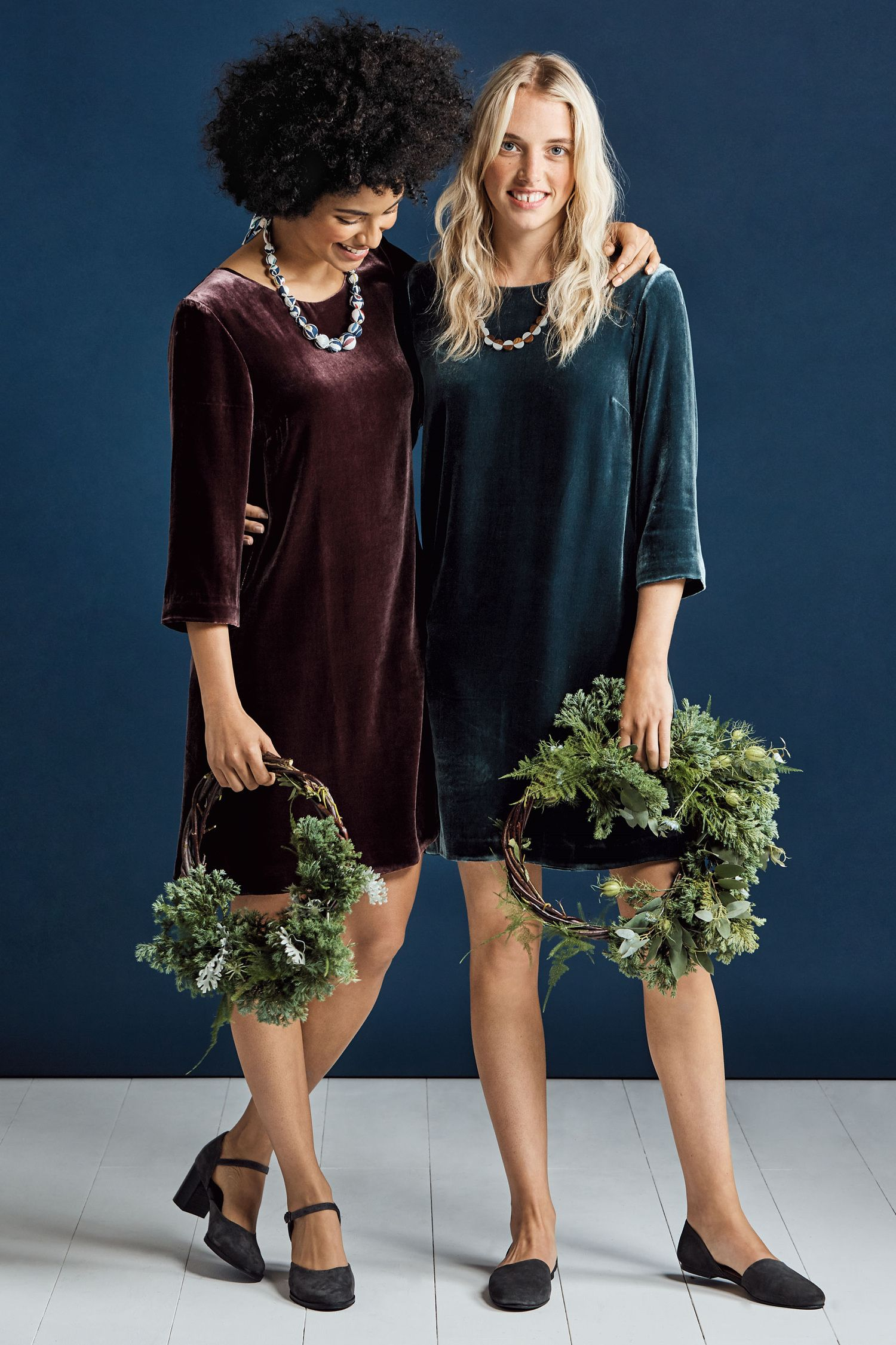 e763844d942e Deluxe velvet dress, in Seasalt colours. In a quality velvet blend fabric,  with shift fit, scoop neck, three quarter sleeves and knee length.
