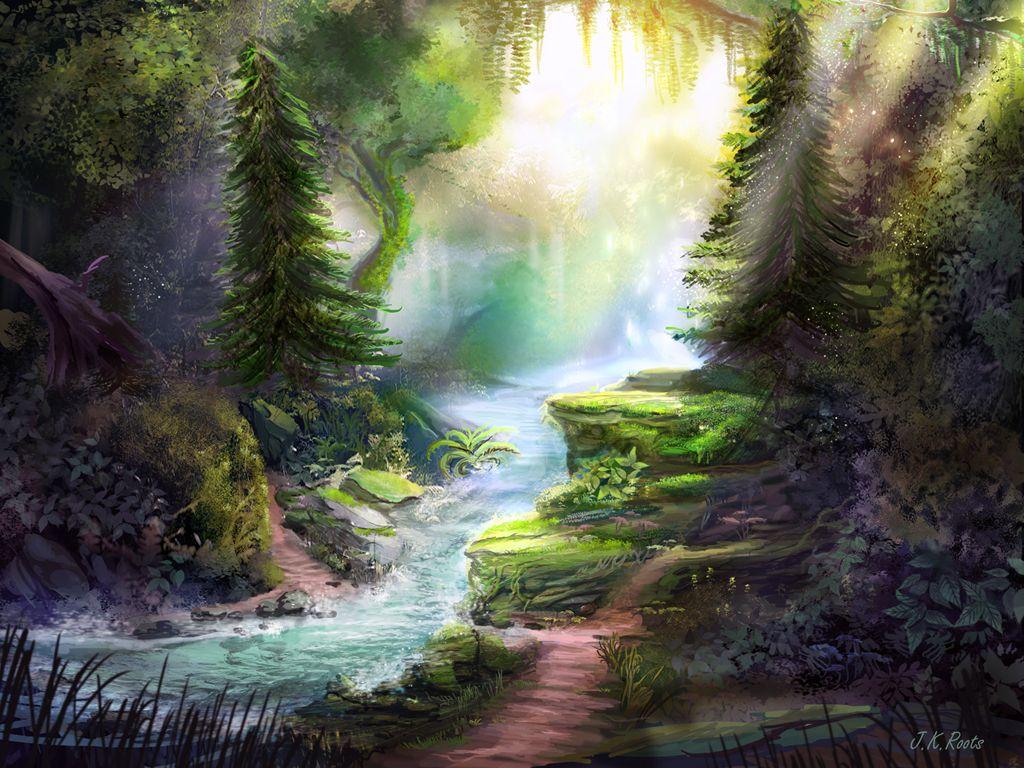 Forest River By Me Fantasy Landscape Landscape Magical Forest