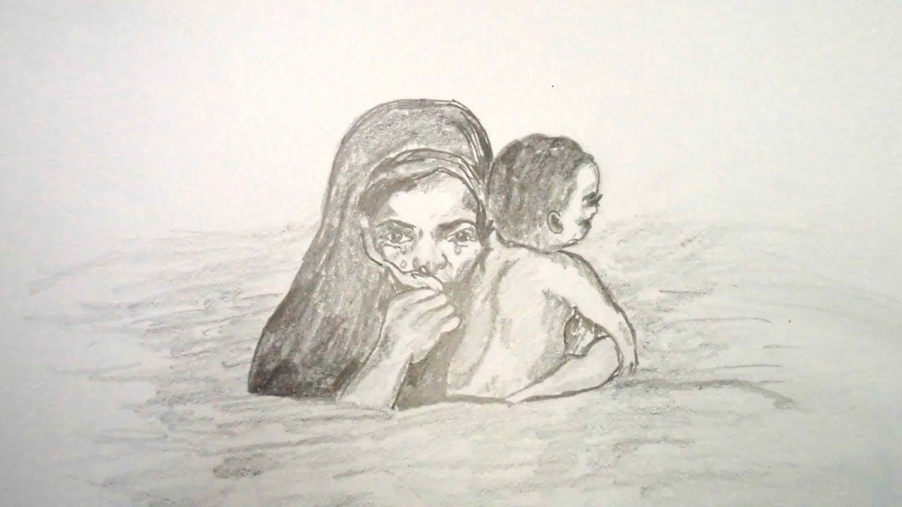 How to draw pencil sketch scenery of flood mother and child step by