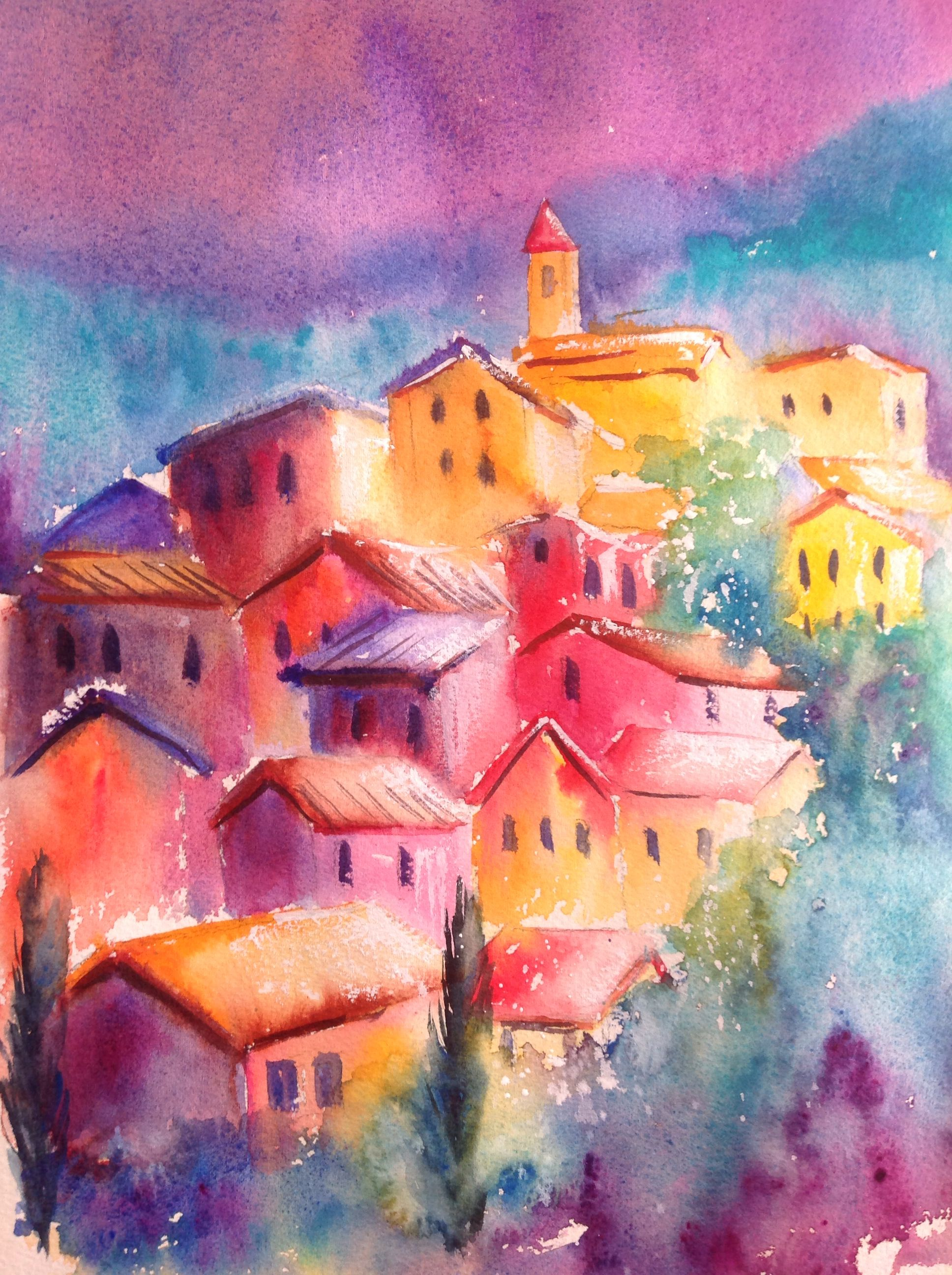 Mediterranean Village Watercolour Abstract Artwork Watercolor Art