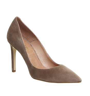Office Playful Point Court Heels Taupe Kid Suede - High Heels