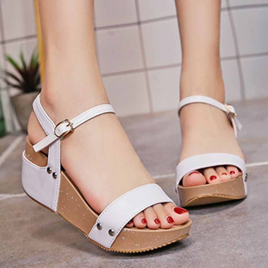 c4e3f1ad509 Plain High Heeled Ankle Strap Peep Toe Casual Date Wedge Sandals-Berrylook   sandalsonsale  cheapsandalsonline