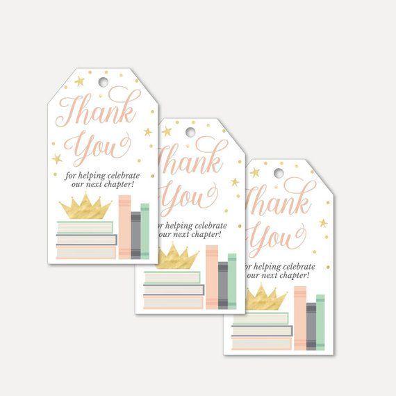 Book Theme Baby Shower Thank You Favor Tags Template Thank You