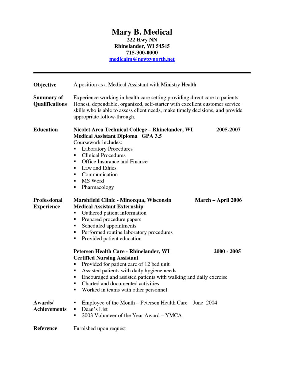 Sample Resume For Patient Care Technician   Nursing