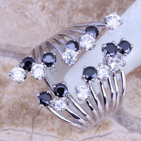 Bianco CZ Nero Creato Sapphire 925 Sterling Silver Belle Ring For Women Size 5/6/7/8/9/10/11/12 S0227