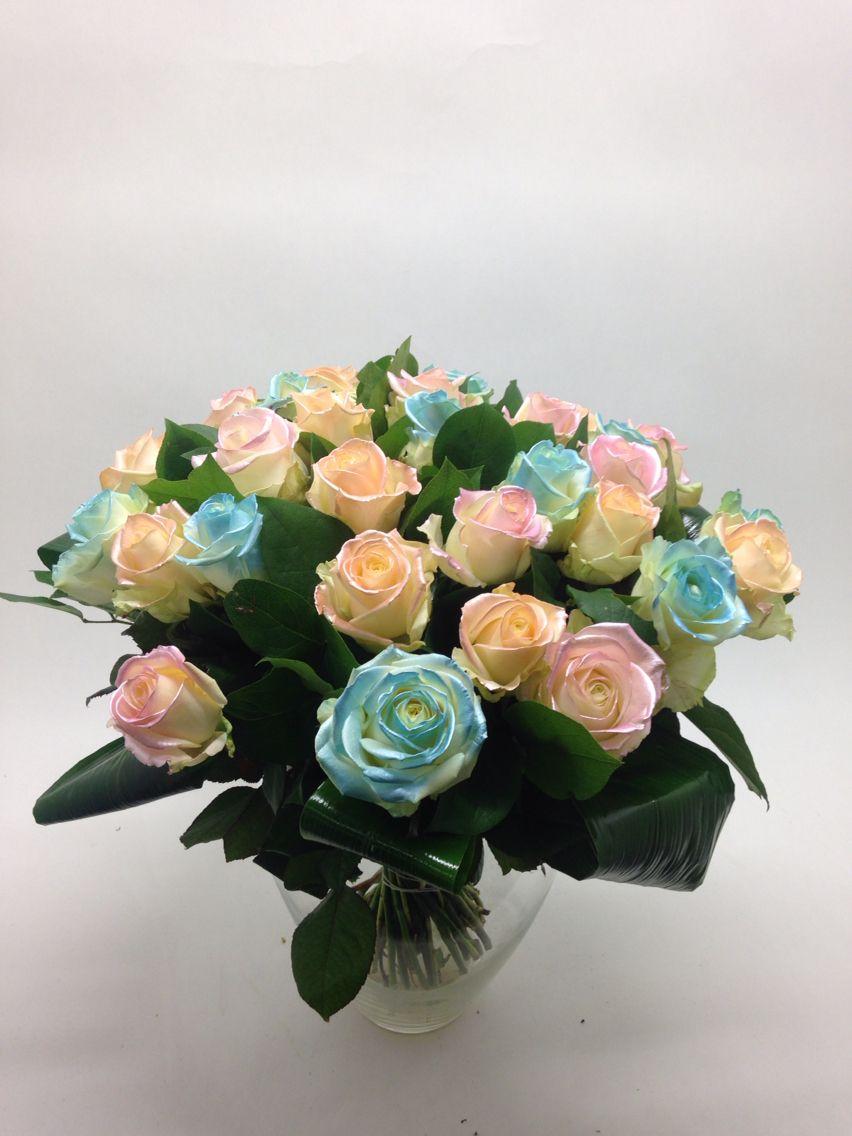 Satin mix rozen boeket
