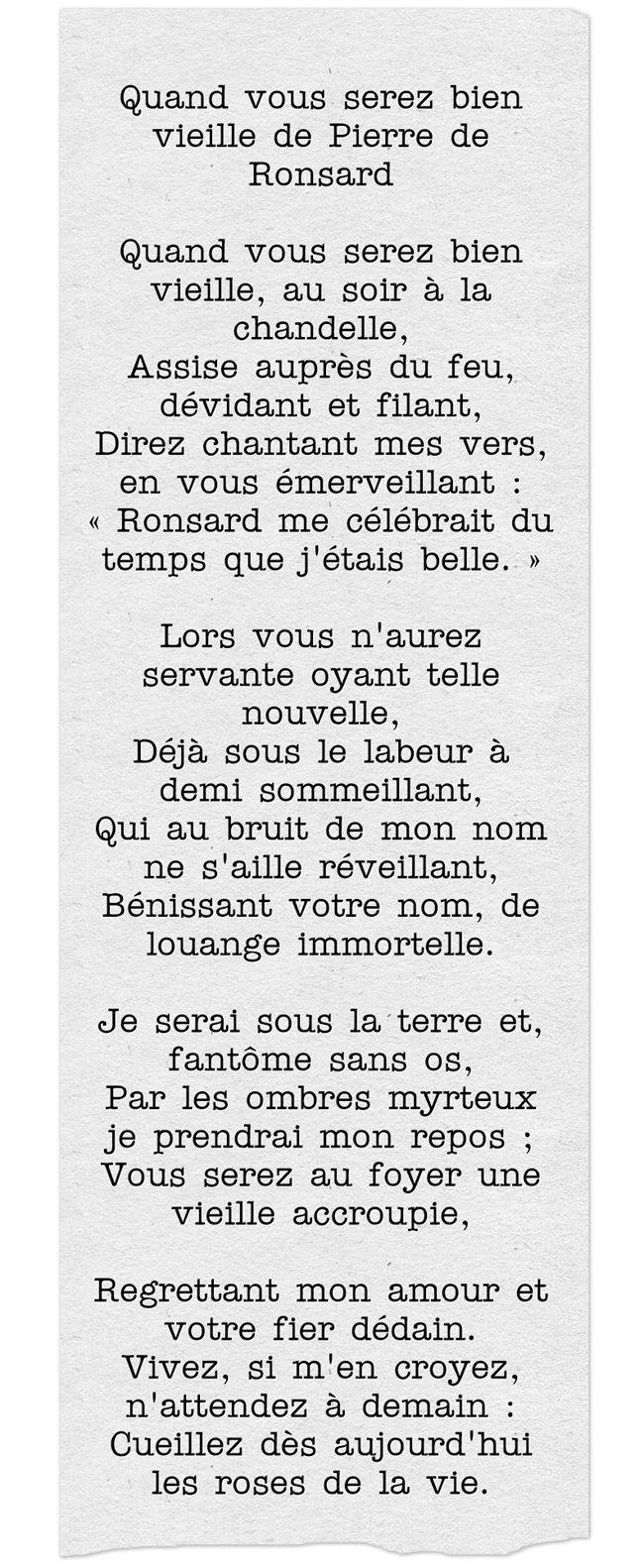 Quand Vous Serez Bien Vieille De Pierre De Ronsard Poeme