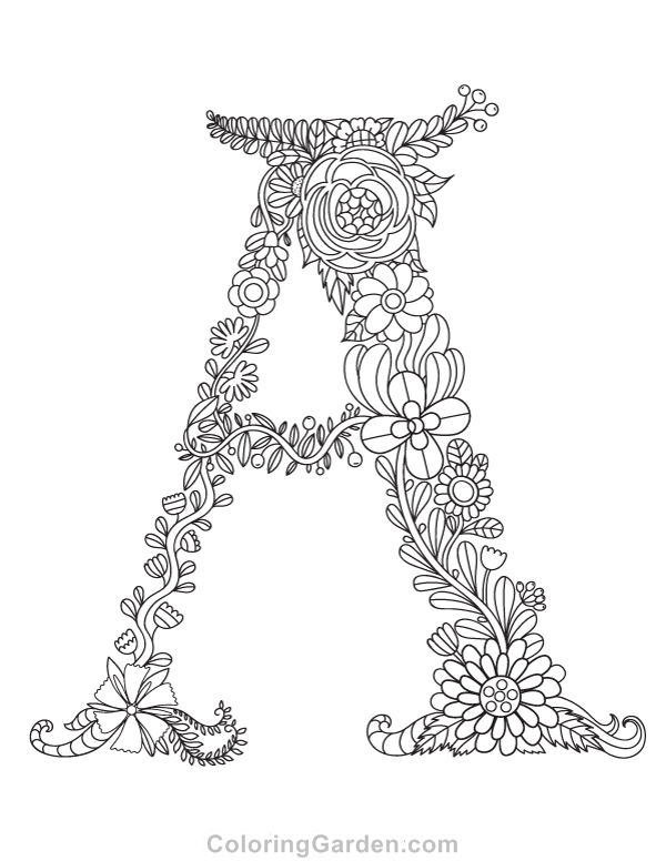 A To Z Coloring Pages Pdf : Free printable floral letter quot a adult coloring page