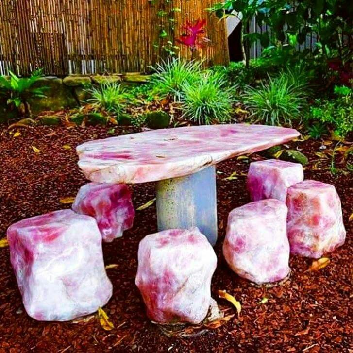 Gorgeous Rose Quartz Stools And Table Crystal Furniture Crystals In The Home Monaco