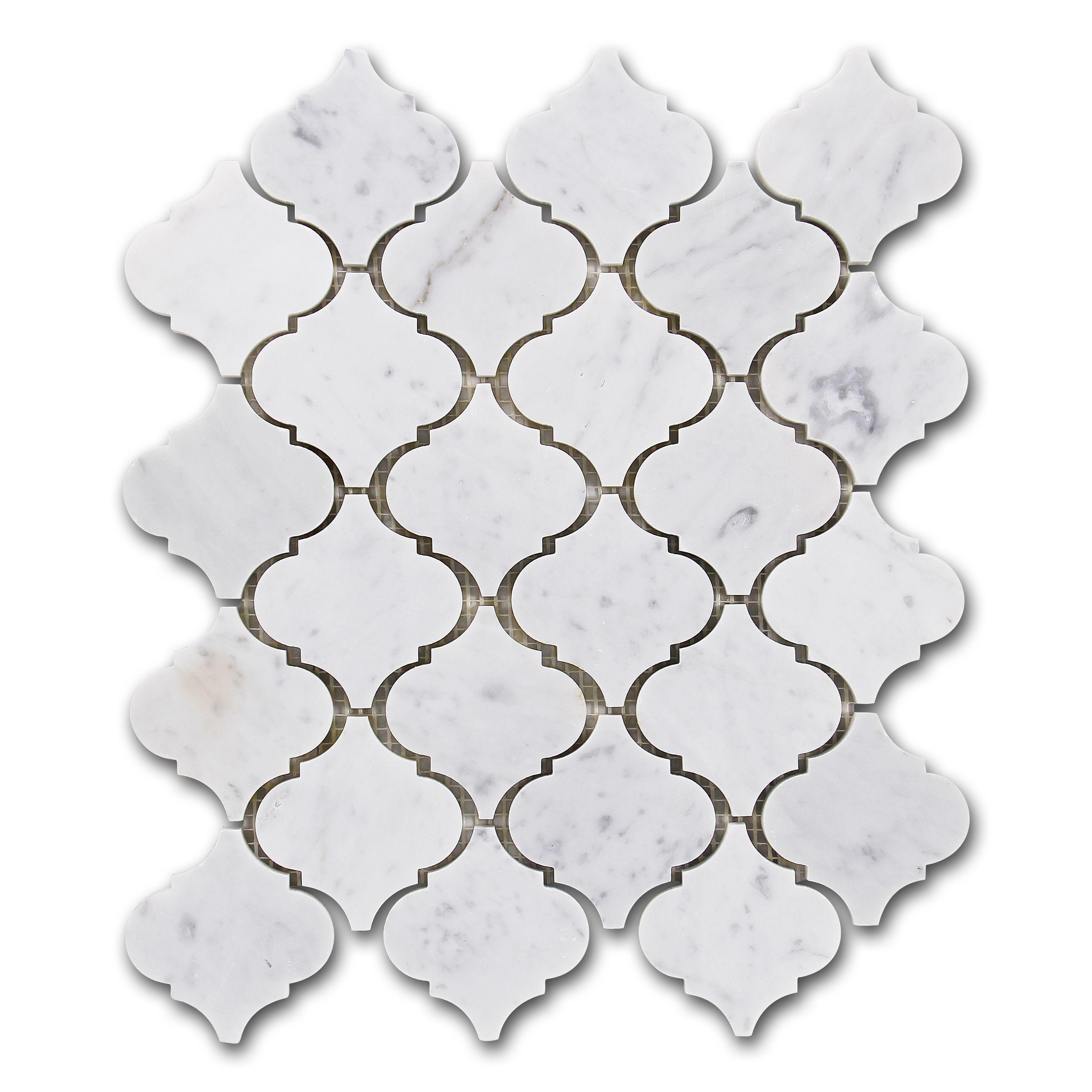 $16.95 Arabesque Carrara Bianco Marble Mosaic Tile from ...
