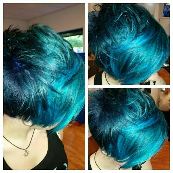 Blue and turquoise pixie cut and color by me at robert for Salon turquoise