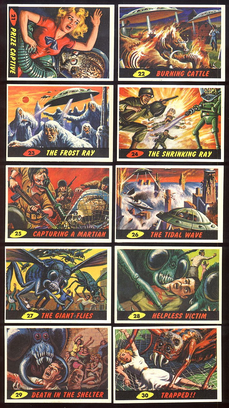 A select of 1962 mars attacks trading cards vintage