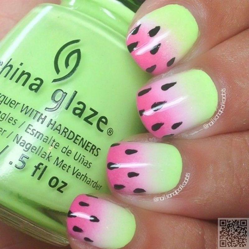 10. Pink and #Green Watermelon - 43 #Ideas for Ombre #Nails That ...