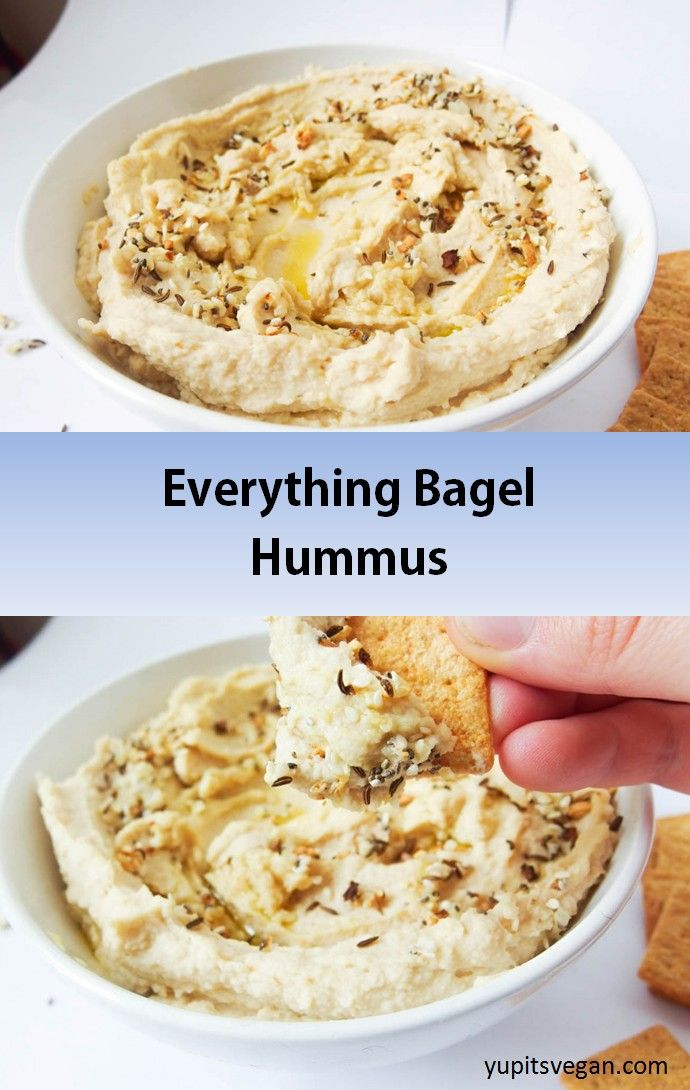 Everything Bagel Hummus   yupitsvegan.com. Amazing hummus that tastes just like an everything bagel, with sesame, poppyseeds, toasted garlic and onions, and more. #vegan and #glutenfree recipe.