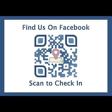 Facebook check-in QR Code. This is a ready-made template at QRt.co. You just enter your business page facebook URL and click generate and that's it! Example: if your URL is http://facebook.com/qrt.co, then enter qrt.co in the field after selecting Facebook check-in.