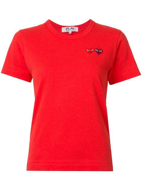 COMME DES GARÇONS PLAY Embroidered Heart T-Shirt. #commedesgarçonsplay #cloth #t-shirt