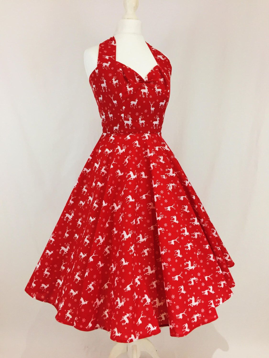 e110bb56643d9 Reindeer and Snowflake Red and White Christmas Dress. Full circle skrit,  halterneck, festive