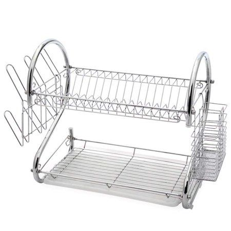 DISH DRAINER 2-TIER CHROME PLATED PLATE CUP BOWL WASHING SINK KITCHEN DRIP TRAY