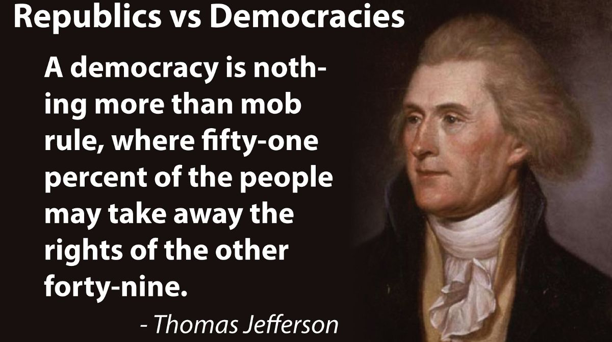 Image result for thomas jefferson on the dangers of democracy