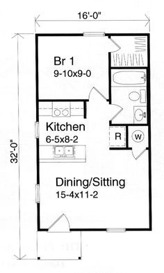 Studio apartment plans 16 x 32 google search tiny home for 16 x 32 floor plan