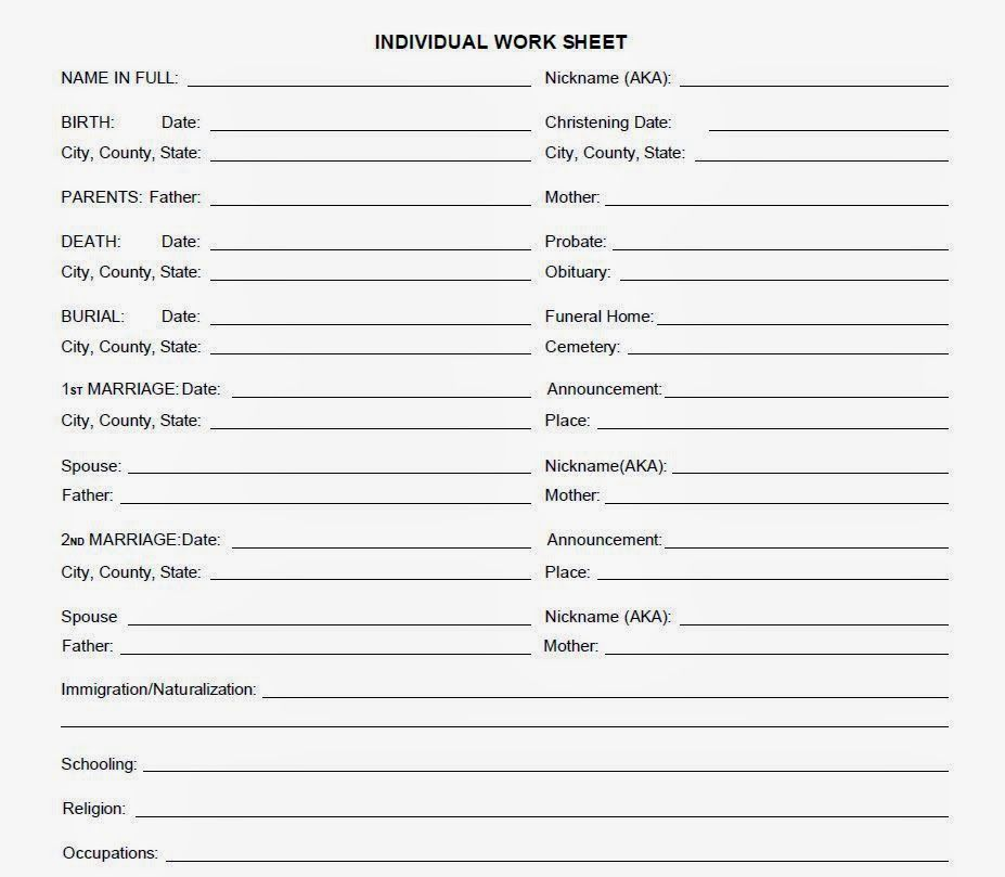 Individual Record Sheet Idea With Images Genealogy Forms