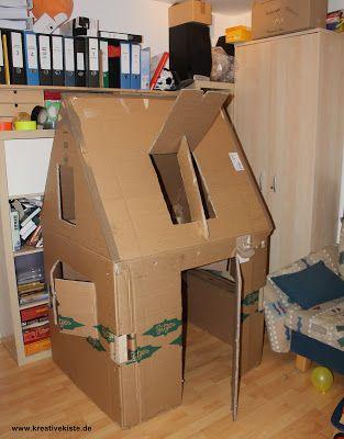 kreative kiste spielhaus f r kinder aus pappe karton mit beleuchtung selber bauen mix. Black Bedroom Furniture Sets. Home Design Ideas