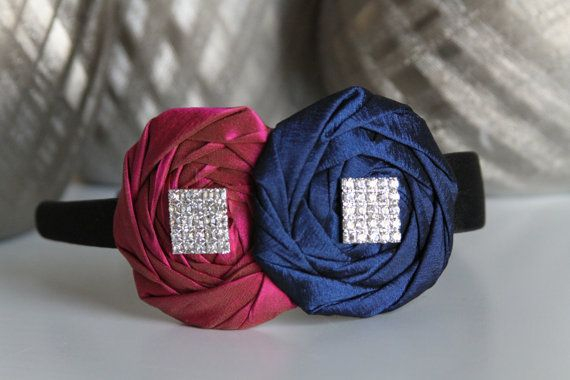 Hot pink and navy blue rosettes on black by DESERTROSECOUTURE, $20.00