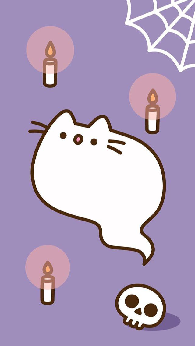 Pin By Bibi On Pusheen Hk Screens Pusheen Cute Halloween Wallpaper Pusheen Cat