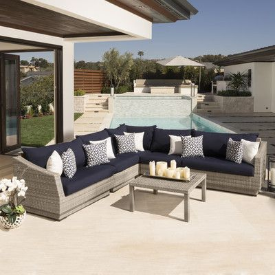 Wade Logan Alfonso 6 Piece Corner Sectional And Conversation Table Seating Group With Cus Outdoor Sofa Sets Outdoor Living Furniture Contemporary Outdoor Sofas