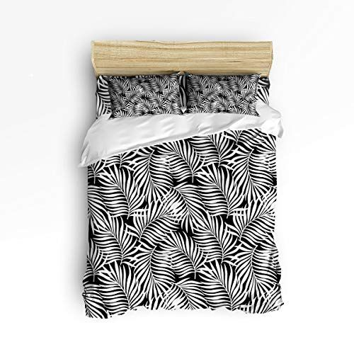 Cancun Palm 4 Piece Bedroom Set Wicker Rattan Queen King: 4 Piece Bedding Sets Black And White Palm Leaves Duvet