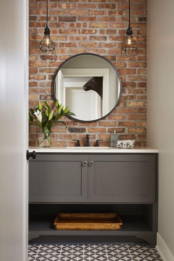 The 30 Best Modern Bathroom Vanities Of 2020 Trade Winds Imports In 2021 Brick Bathroom Brick Accent Walls Basement Design