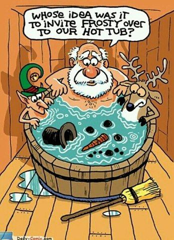 Who's idea was it to invite Frosty over to our hot tub?
