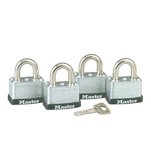 Master Lock 3009D Keyed-Alike Warded Padlock, Steel, 1-1/2-Inch, 4-Pack
