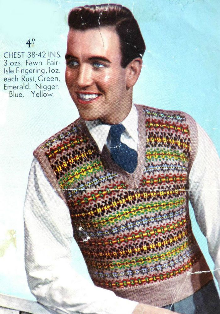 Vintage Knitting Pattern 1940s FAIR ISLE MENS SWEATER Pullover Tank ...