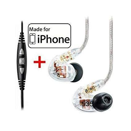 Shure SE535-CL Earphones, CBL-M+-K-EFS Music Phone Cable
