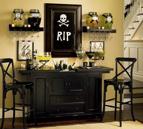 halloween decor or everyday bar idea love the rip print and two side bar chairs