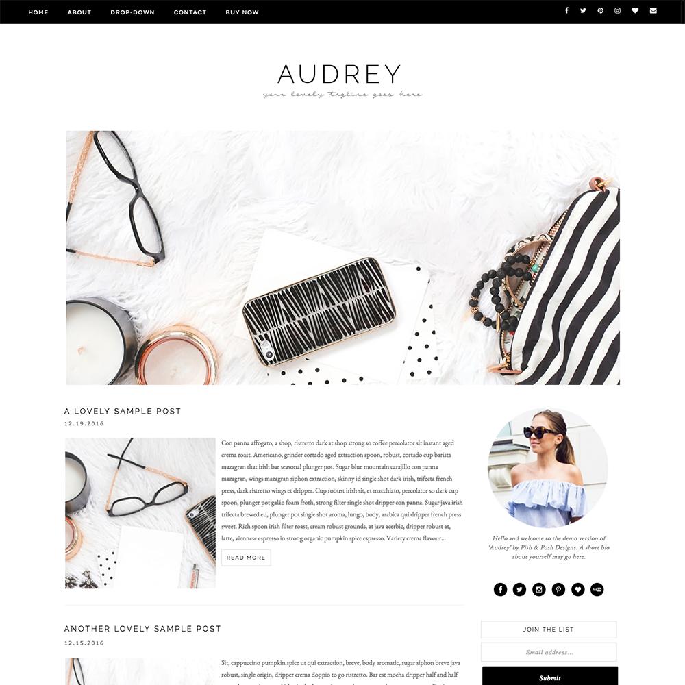 Audrey Feminine Blogger Template | Feminine and Template