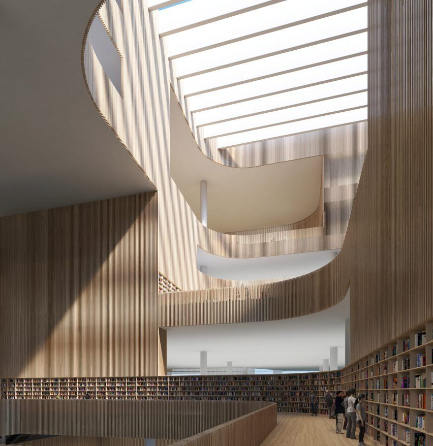 The wooden slats that line central atrium are of varying transparency photo in schmidt hammer lassen architects  winning design for shanghai also best architectural interiors images rh pinterest